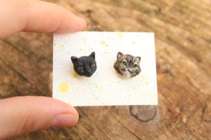 custom cat earrings gift