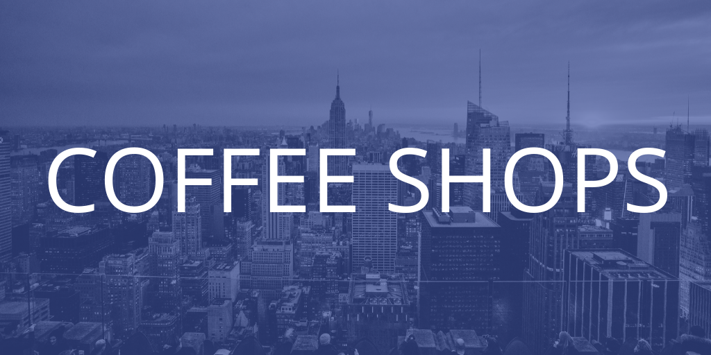 A New York skyline with a blue tint over it, the text introduces the coffee shops section of the article