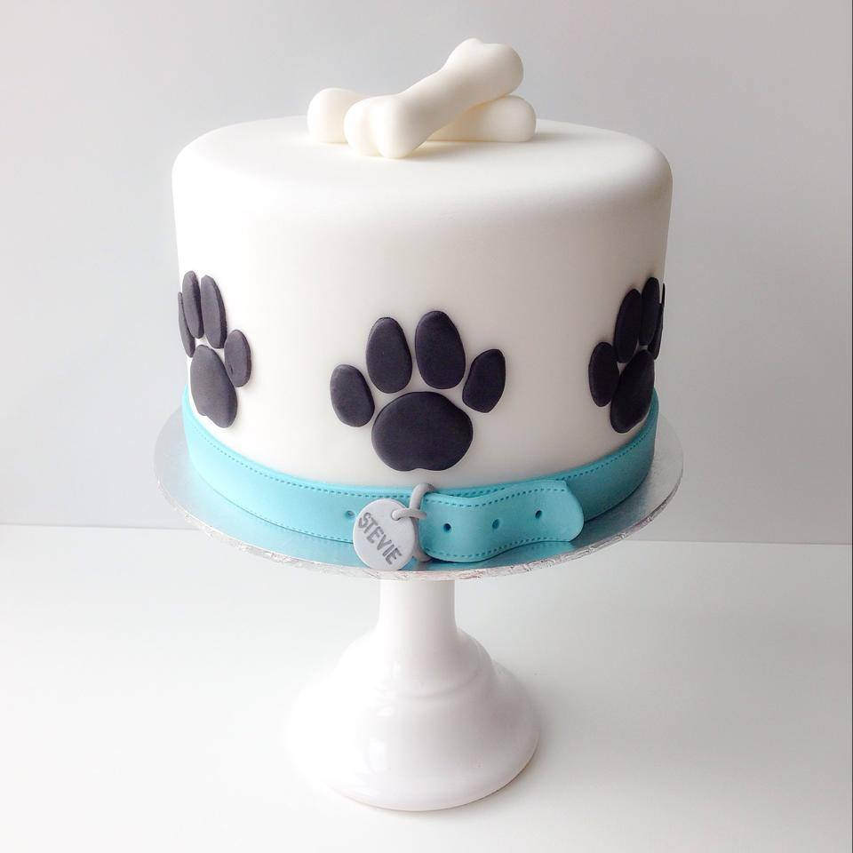 A dog-themed cake that's safe for animal consumption from a dog bakery.